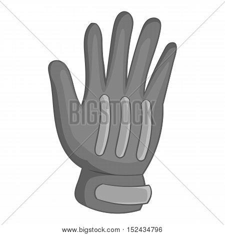 Winter sport glove icon. Gray monochrome illustration of winter sport glove vector icon for web