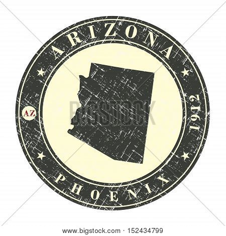Vintage stamp with map of Arizona. Stylized badge with the name of the State year of creation the contour maps and the names abbreviations . Vector illustration