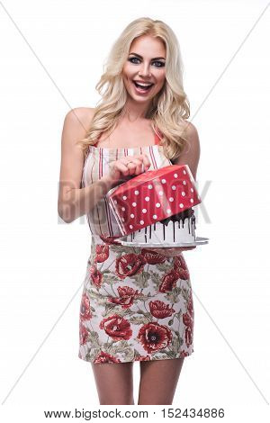 Smiling Woman With Strawberry Decoration From Delicious Cream Tart Cake Which She Is Holding In Her