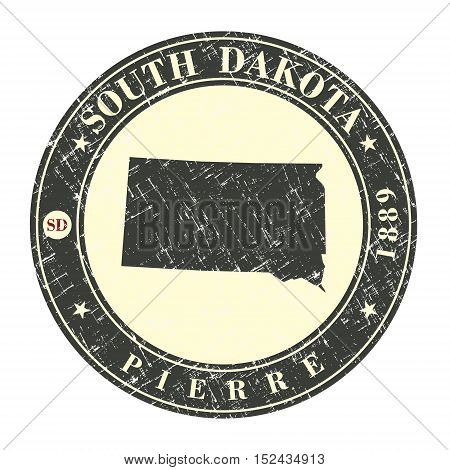 Vintage stamp with map of South Dakota. Stylized badge with the name of the State year of creation the contour maps and the names abbreviations . Vector illustration