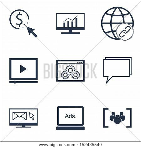 Set Of Advertising Icons On Questionnaire, Conference And Market Research Topics. Editable Vector Il