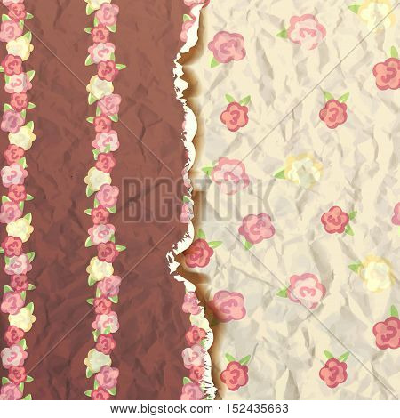 shabby chic. provence style. album cover. flowers paper texture. brown and yellow