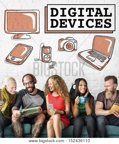 Digital Devices Technology Laptop Graphic Concept
