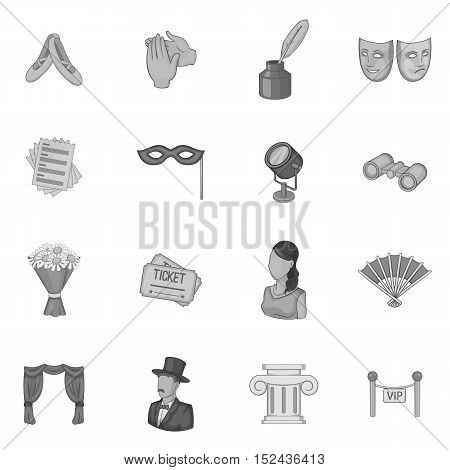 Theatre icons set. Gray monochrome illustration of 16 theatre vector icons for web