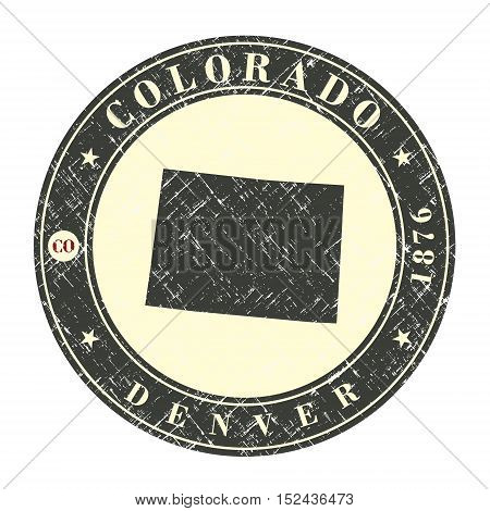 Vintage stamp with map of Colorado. Stylized badge with the name of the State year of creation the contour maps and the names abbreviations . Vector illustration
