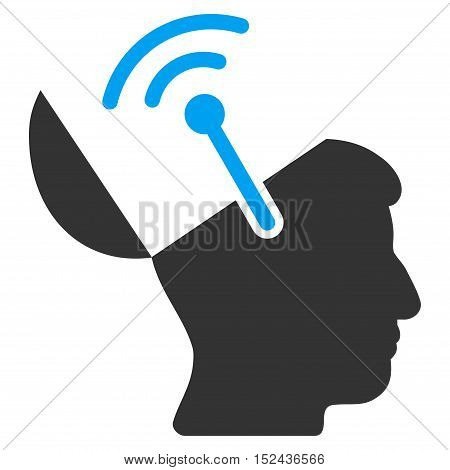 Open Brain Radio Interface vector pictograph. Style is flat graphic bicolor symbol, blue and gray colors, white background.