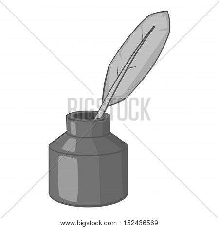 Ink with pen icon. Gray monochrome illustration of ink with pen vector icon for web
