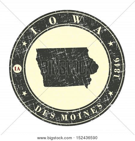Vintage stamp with map of Iowa. Stylized badge with the name of the State year of creation the contour maps and the names abbreviations . Vector illustration