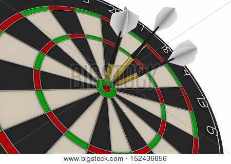 Dart Board With Three White Darts In Bullseye 3D Illustration