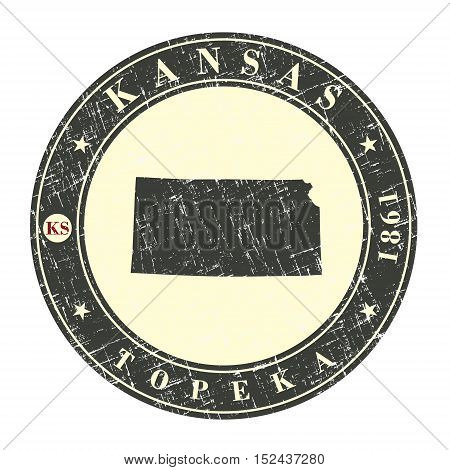 Vintage stamp with map of Kansas. Stylized badge with the name of the State year of creation the contour maps and the names abbreviations . Vector illustration