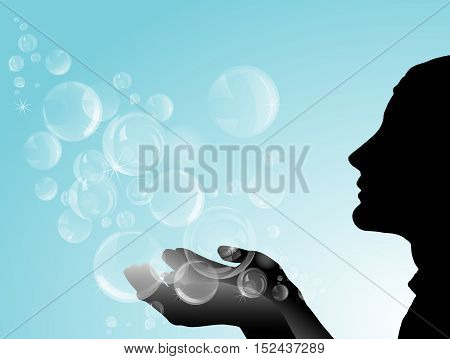 Silhouette of girl with soap bubbles. Vector illustration