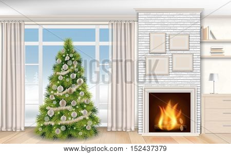 Modern christmas Interior with fireplace and fir tree. Winter landscape outside the window on the street in the fireplace burning firewood. Realistic vector illustration.