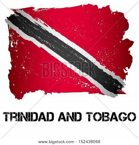 Flag of Trinidad and Tobago from brush strokes in grunge style isolated on white background. Country in North America. Vector illustration