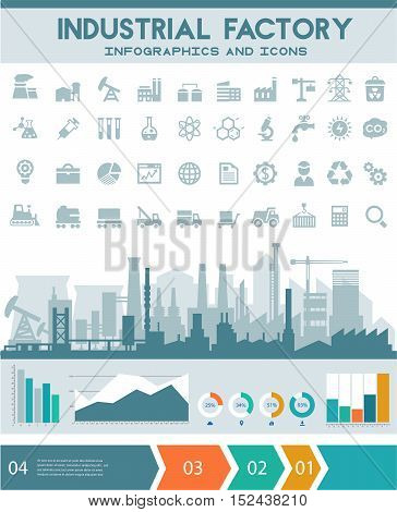 Construction illustration for websites. City skyline construction background with step banners, infographics elements and industry icons