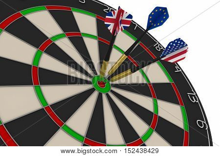 Dart Board With Uk, Eu And Us Flag Darts In Bullseye 3D Illustration