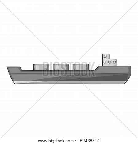 Ship carries cargo icon. Gray monochrome illustration of ship carries cargo vector icon for web