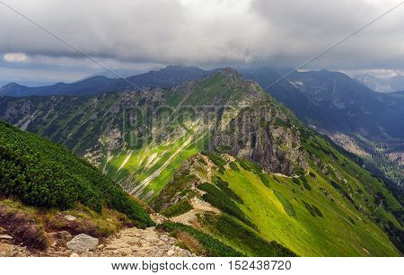 Beautiful scenery of mountain trail in the Tatra Mountains