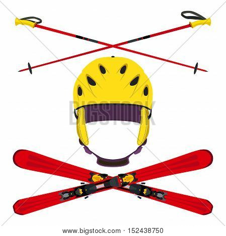 Set of helmet with ski poles skiing in flat style. Bright illustration of extreme sports skiing snowboarding.
