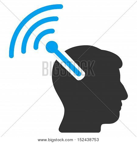 Radio Neural Interface vector pictograph. Style is flat graphic bicolor symbol, blue and gray colors, white background.