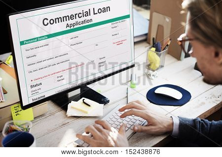 Commercial Loan Application Banking Shopping Concept