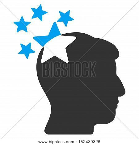 Stars Hit Head vector icon. Style is flat graphic bicolor symbol, blue and gray colors, white background.