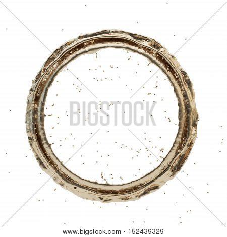 Isolated golden radial splash on a white background. Rain drop splashes . 3D rendering. 3d illustration.