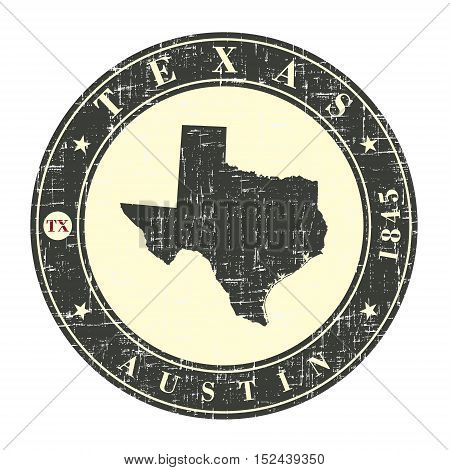 Vintage stamp with map of Texas. Stylized badge with the name of the State year of creation the contour maps and the names abbreviations . Vector illustration