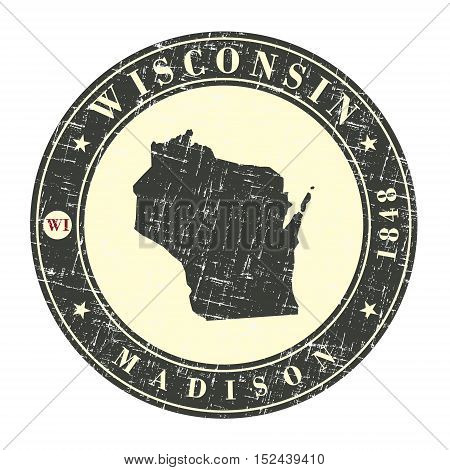 Vintage stamp with map of Wisconsin. Stylized badge with the name of the State year of creation the contour maps and the names abbreviations . Vector illustration