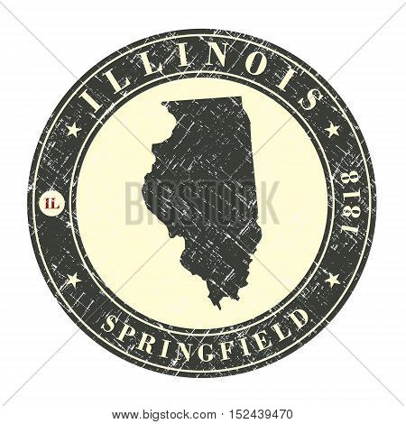 Vintage stamp with map of Illinois. Stylized badge with the name of the State year of creation the contour maps and the names abbreviations . Vector illustration