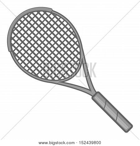 Tennis racket icon. Gray monochrome illustration of tennis racket vector icon for web