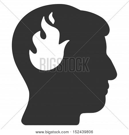 Brain Fire vector icon. Style is flat graphic symbol, gray color, white background.