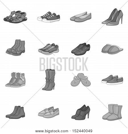 Shoe icons set. Gray monochrome illustration of 16 shoe vector icons for web