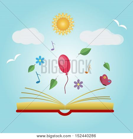 Imagination concept with opened book, vector illustration