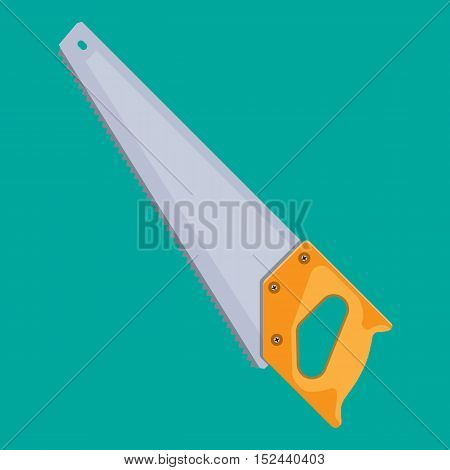 Hand saw with hardened teeth. vector illustration in flat style