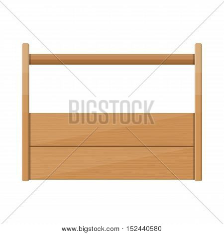 Empty wooden toolbox, vector illustration in flat style