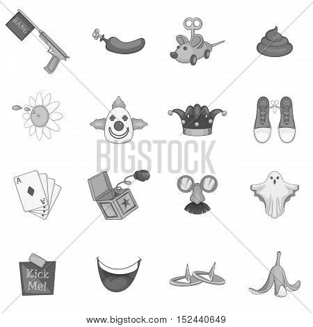 April fools day icons set. Gray monochrome illustration of 16 April fools day vector icons for web