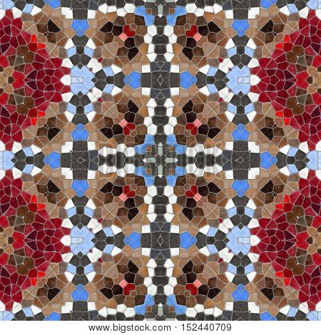 Texture oriental carpets. Mosaic from glass shards. New seamless texture of abstract fabric. Kaleidoscopic wallpaper tiles. Oriental pattern