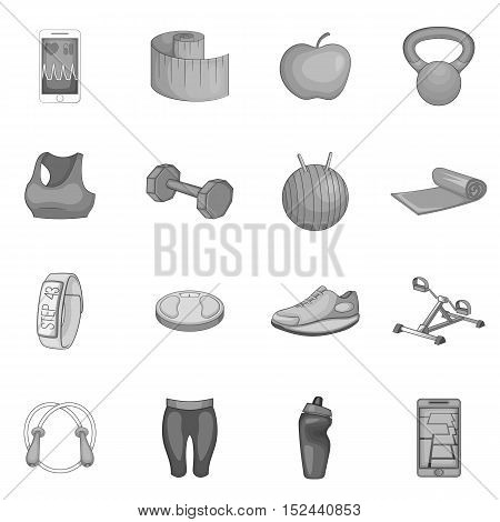 Fitness icons set. Gray monochrome illustration of 16 fitness vector icons for web