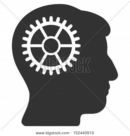 Intellect Cog vector icon. Style is flat graphic symbol, gray color, white background.
