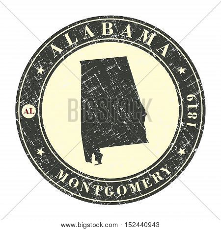 Vintage stamp with map of Alabama. Stylized badge with the name of the State year of creation the contour maps and the names abbreviations . Vector illustration