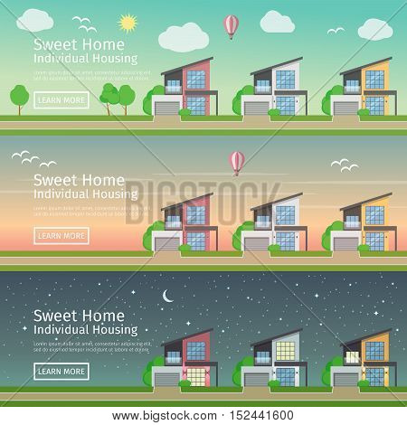 Beautiful set of flat vector web banners on the theme of modern Real Estate at different times of day.