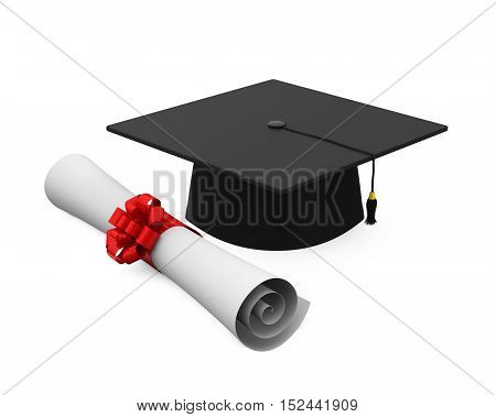 Graduation Cap and Diploma isolated on white background. 3D render