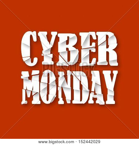 Cyber Monday. Destroyed text. Header, element for celebratory design with soft shadow. Vector illustration.