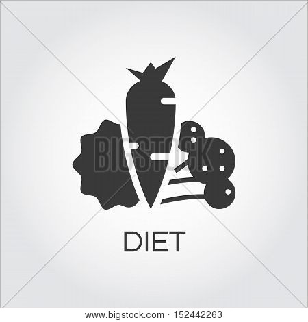 Round vegetables icon with carrots, salad and broccoli. Healthy eating concept. Label drawn in flat style. Simple black logo for websites, mobile apps and other design needs. Vector contour pictograph