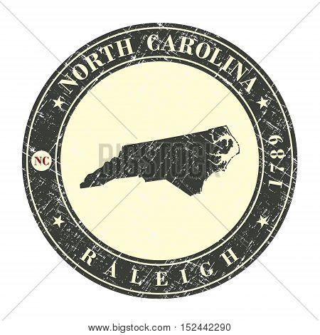Vintage stamp with map of North Carolina. Stylized badge with the name of the State year of creation the contour maps and the names abbreviations . Vector illustration