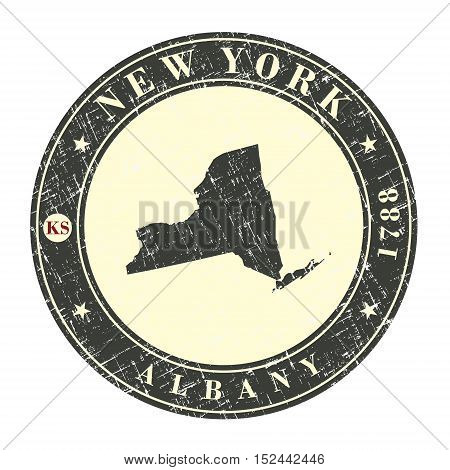 Vintage stamp with map of New York. Stylized badge with the name of the State year of creation the contour maps and the names abbreviations . Vector illustration