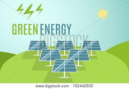 Blue Solar Panels banner. Modern Alternative Eco Green Energy. Vector illustration