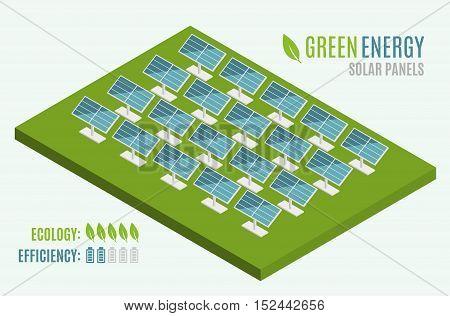 Blue Solar Panels. Flat 3d web isometric. Modern Alternative Eco Green Energy. Vector illustration