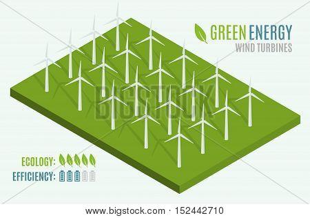 Wind Turbines. Flat 3d web isometric. Modern Alternative Eco Green Energy. Vector illustration
