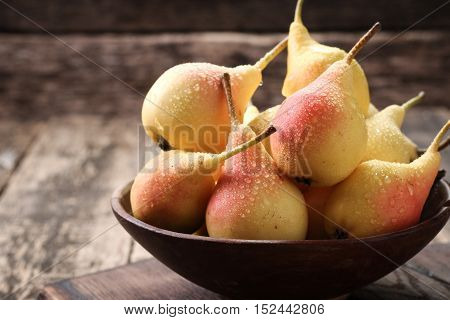 Ripe Pears On Vitage Wooden Table